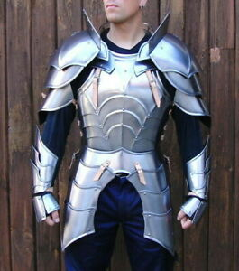 SCA 18GA Steel Medieval Half Body Plated Armor Suit Cuirass & Puldrons/Gauntlets