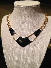 Sleek Vintage Modernist Monet Black Enamel & Gold Tone Metal Choker Necklace
