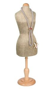 Jewelry Display Stand Mannequin Miniature Body Form Burlap Jewelry Stand 22 5/16