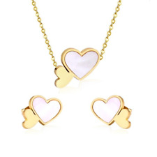 Stainless Steel LOVE Heart Gift SET with Shell Necklace Earrings Hypoallergenic