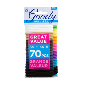 GOODY OUCHLESS HAIR TIES, NO METAL HAIR ELASTICS, ASSORTED COLORS - 70 PIECES