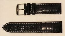 Authentic LONGINES black alligator leather strap 22mm with buckle (L682119491)