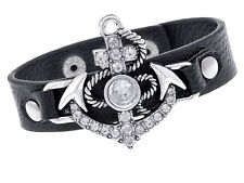 Black Faux Leather Anchors Away From The Boat Rhinestone Studded Wrist Band