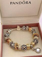 Genuine Silver Pandora Charm Bracelet 18cm With charms In Box .  #B/9