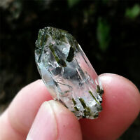 4.2g RARE Specimen Natural Green Tourmaline On Water Clear Crystal Quartz Heal