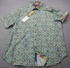 ROBERT GRAHAM Cholas Mens Blue & Green Diamond Jaquard Silk SS Shirt NWT XL $228