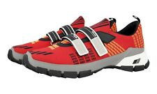 AUTH LUXURY PRADA SNEAKERS SHOES 4O3219 RED KNIT NEW