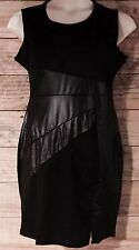 Leather Look Mini Short Dress P.U Panel Front Women's SIZE 10/12 Petite
