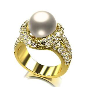 Women's Ring Pearl Zirconia White 750er Gold 18 Carat Gold Plated R1166
