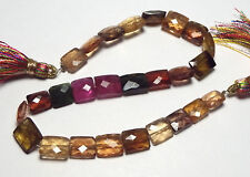"""8"""" Strand TOURMALINE Pink Green Gold 7-11mm Faceted Rectangle Beads NATURAL /g1"""