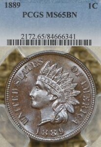 1889 1C PCGS MS65 BN Indian Head Penny Cent, Looks Proof