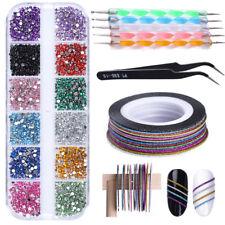 Nail Art Rhinestone 1mm Matte Glitter Striping Tape Line Tweezer Dotting Pen Kit