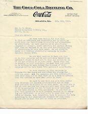 Vintage WW 1 Era Coca Cola Letterhead Oct 3rd 1917 Ephemera Marion SC Atlanta GA
