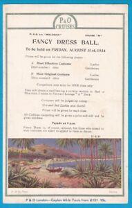 Original 1934 P & O Line S.S MOLDAVIA flyer Fancy Dress Ball CEYLON