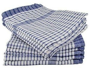 Tea Towels Blue Pack of 10 -  100% Cotton, monocheck woven cotton,55x45 cm, SALE