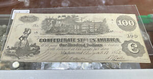 """1862 $100 CSA CONFEDERATE STATES OF AMERICA CURRENCY NOTE """"TRAIN"""" (D)"""