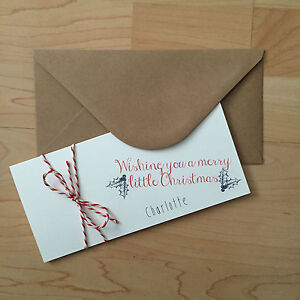 Personalised Vintage/Retro Christmas Money/Gift Voucher Wallet Envelope Holly