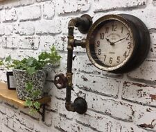 Industrial style wall clock vintage pipe steampunk pub cafe restaurant metal NEW