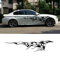 2pcs Black Flame Car Sticker Graphics Side Door Body Reflective Decals Vinyl wef