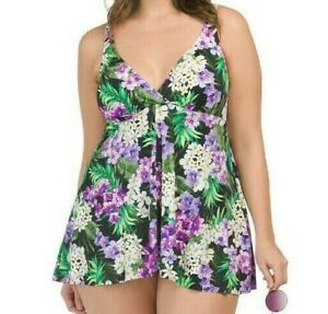 Shape Solver Women's Swimsuit Fly Away Floral Slimming One Piece Swimdress
