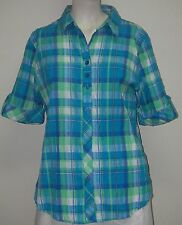Women's Clothing BLOUSE/ Alia Blue Plaid short roll-tab sleeve collar Button Up