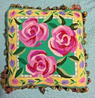 Vintage Wool Needlepoint Pillow W/ Large Pink Roses, Pink,Green& Yellow & Fringe