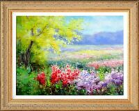 Framed Original Oil On Canvas by Eric Son, Spring Flower Field Scene Landscape