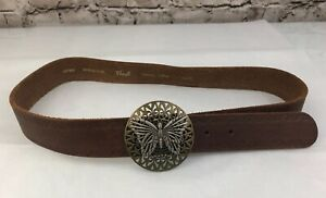 Fossil Brown Leather Belt Gold Silver Filigree Butterfly Round Buckle Small