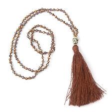Handmade Halskette Ibiza Quaste Buddha Anhänger Braun