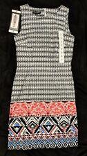 Mario Serrani Shift Dress sleeveless, Black & White Geometric Pattern Size 2