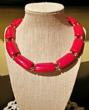 Outstanding Vintage Modernist Trifari Bright Red Lucite Links Choker Necklace