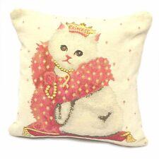 "Beautiful luxury Cream Ivory Chenille Cat Kitten Princess Cushion Cover 17"""