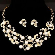 Glitz Exotic Collection Gold Plated Crystal Pearl Leaf Necklace Set For Women