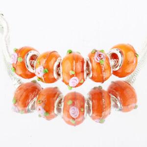5 x Orange Pink Rose Flower Bright Glass Bracelet Spacer Threader Charm Beads.
