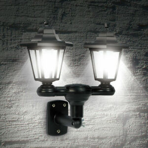 Dual Head LED Solar Powered Wall Lantern Light Outdoor Garden Patio Door Lamp