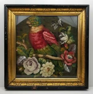 Antique Victorian Beadwork Crewel Framed Folk Art OOAK Tropical Bird Parrot