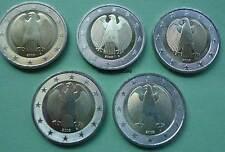 Deutschland BRD 5 x 2 Euro Kursmünzen A,D,F,G,J Euromünzen coins Auswahl Jahre