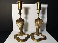 Pair of Brass Cobra Snake Candlesticks - Etched Brass - 8-1/4""