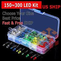 150~300 pcs 3mm 5mm LED Light White Yellow Red Green Assortment Kit For Arduino