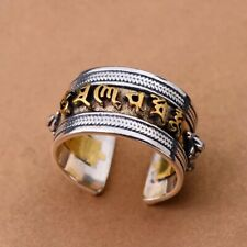 Solid 925 Sterling Silver Mens Tibetan Sacred Mantra Ring Open Adjustable Size