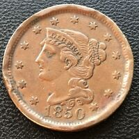 1850 Large Cent Braided Hair One Cent 1c High Grade XF Details #28502