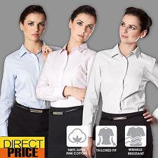Women Shirts Blouse Tops Fine cotton Tonal Stripe Casual Office Formal Business