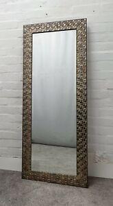 Grande Plata Antigua Mosaico Madera Marco Pared Espejo Borde Biselado 167x76cm