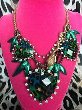 Betsey Johnson Vintage Asian Jungle HUGE Blue Green Leopard Heart Snake Necklace