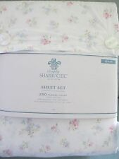 NEW Simply Shabby Chic Candy White Pink Green Blue Floral Sheet Set - Queen