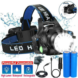 Rechargeable Head Torch Headlamp Light Lamp 12000LM  XML CREE T6 LED Zoom UK