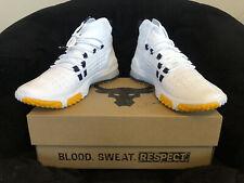 UA Project Rock 1 'White Gold' Navy Training Shoes [3020788-108] Men's Sz 10.5