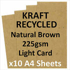 QUALITY KRAFT BROWN RECYCLED CARD 225gsm (x10 A4 SHEETS)