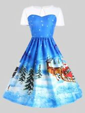 Women's Blue CHRISTMAS Vintage Swing Ball Gown Dress w Lace -Size 8