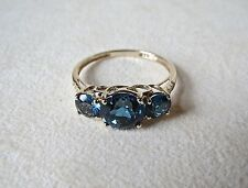 14kt Yellow Gold 3.3 TCW London Blue Topaz Ring 2.96 Grams Size 10.25